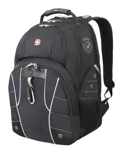 Рюкзак WENGER, чёрный/серебристый, полиэстер 900D/600D/искуственная кожа, 6939204408