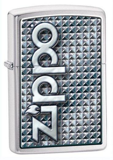 Зажигалка ZIPPO Classic с покрытием Brushed Chrome, латунь/сталь, серебристая с надписью Zippo на фронтальной стороне, матовая, 28280